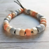 Neutral Color Bead Bracelet - peach gray tan sun mix assorted big roller pony - knot tie on cord