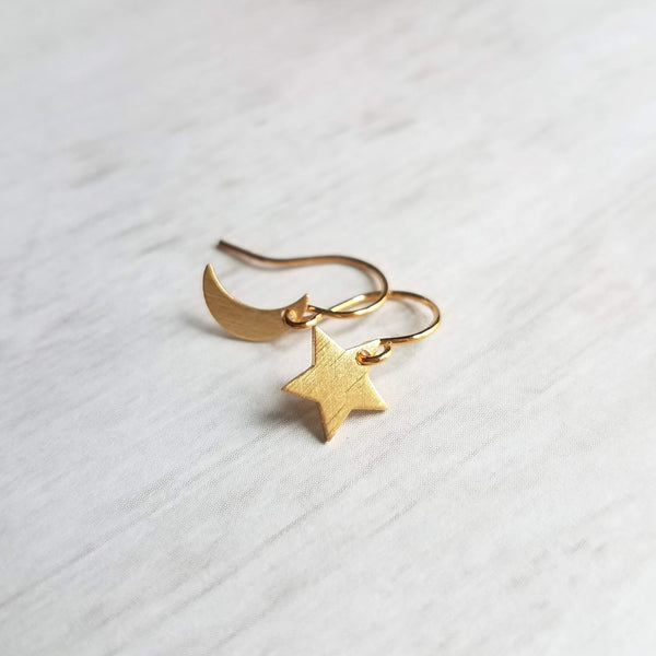 Gold Moon and Star Earrings - little mismatched celestial charms dangl charms, upgrade to 14K SOLID gold or gold fill hooks, night sky wishing star gift