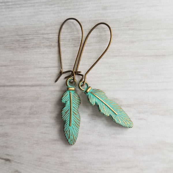 Rustic Feather Earrings - aqua green verdigris patina charms on dark brass / bronze kidney hooks, boho tribal jewelry