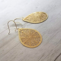 Gold Filigree Teardrop large statement earrings - thin intricate cut out drops w/ latching kidney ear hooks - 18K gold plate - Constant Baubling