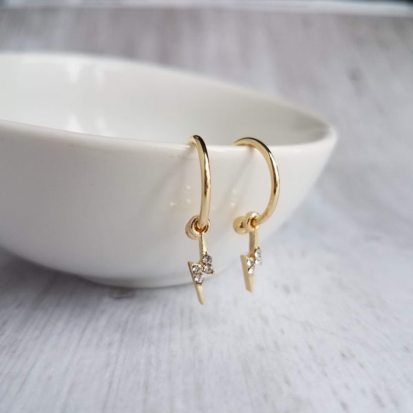 Lightning Bolt Hoop Earrings - small gold circles w/ tiny little clear crystal bolt charm dangles - sky electricity storm jewelry