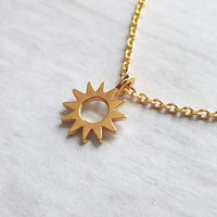 Sun Necklace - tiny gold sunshine pendant charm on delicate thin 14K gold plated chain - happy cheer up gift - weather celestial body