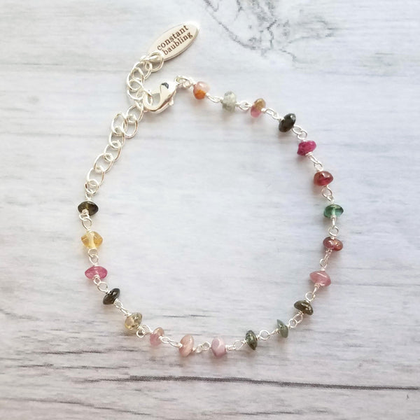 Tourmaline Bracelet - dainty colorful gemstones w/ silver adjustable chain, small green pink golden amber stone beads