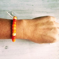 Orange Bead Bracelet - ombre shades of pony crow rollers on tie on knot cord - VSCO girl trend - custom color