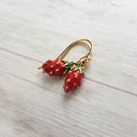 Little Strawberry Earrings - tiny red seeded enamel metal on your choice of small 14K gold plate or 14K gold fill hooks - simple fruit foodie gift - Constant Baubling