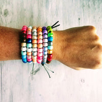Sunset Bracelet - big bead tie on chunky VSCO girl pony roller - rainbow sun bracelet trend