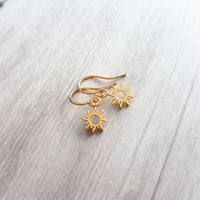 Sunray Earrings - tiny 14K gold plate sun charm - upgrade little hooks to 14K SOLID gold or 14K gold fill - sunshine happiness good vibes cheer gift - Constant Baubling