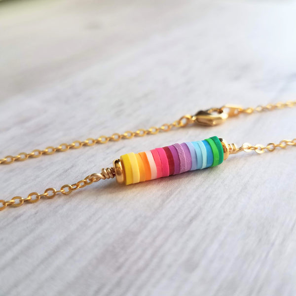 Sunshine Necklace - little rainbow ombre gradient cylinder pendant - simple narrow stack - LGBT+ support happy colorful charm
