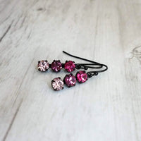 Swarovski Crystal Earrings - dainty ombre shades in fuchsia / hot pink, deep amethyst / palest violet - black brass simple small hooks - Constant Baubling