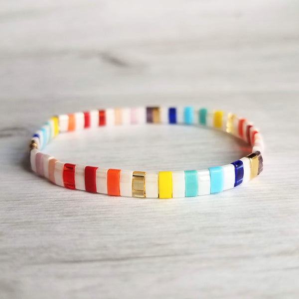 Miyuki Tila Bead Bracelet - rainbow tile bead stretch elastic bangle, multicolor rectangle ROYGBIV glass beads, boho VSCO girl jewelry trend