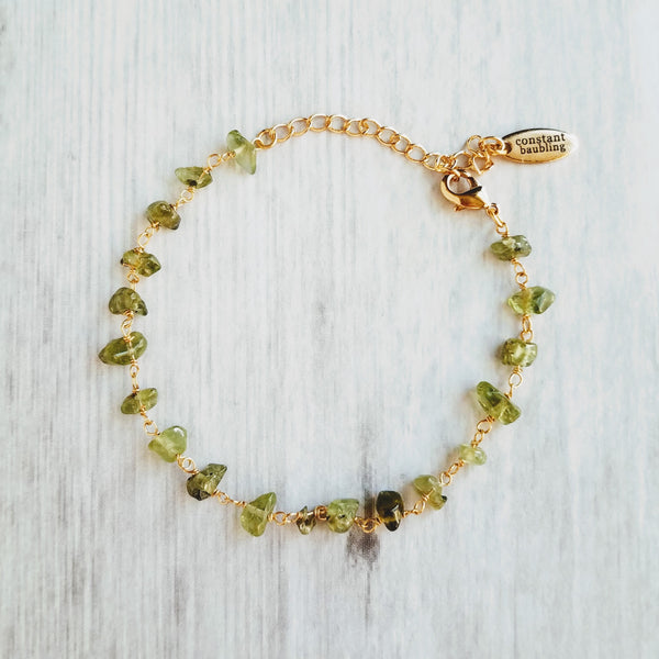 Gold Peridot Bracelet w/ dainty adjustable chain, tiny light green gemstone beads, August birthstone jewelry, olivine
