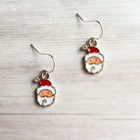 Small Santa Claus Earrings - little St. Nick faces dangle on dainty ear wire,  .925 sterling silver hooks option, Christmas stocking stuffer gift