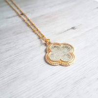 Quatrefoil Necklace - silver / gold 4-lobe leaf clover filigree intricate pendant on thin delicate 14K gold plated chain - good luck charm - Constant Baubling