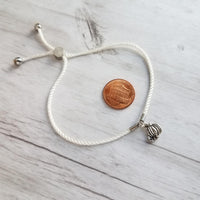 Silver Pumpkin Bracelet - white silk style twisted thin rope cord - autumn fall Halloween charm - adjustable / one size fits most - stacking layer - Constant Baubling