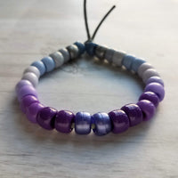 Purple Bead Bracelet - large roller sun friendship tie on cord - big faux glass / stone rainbow ombre chunky jewelry