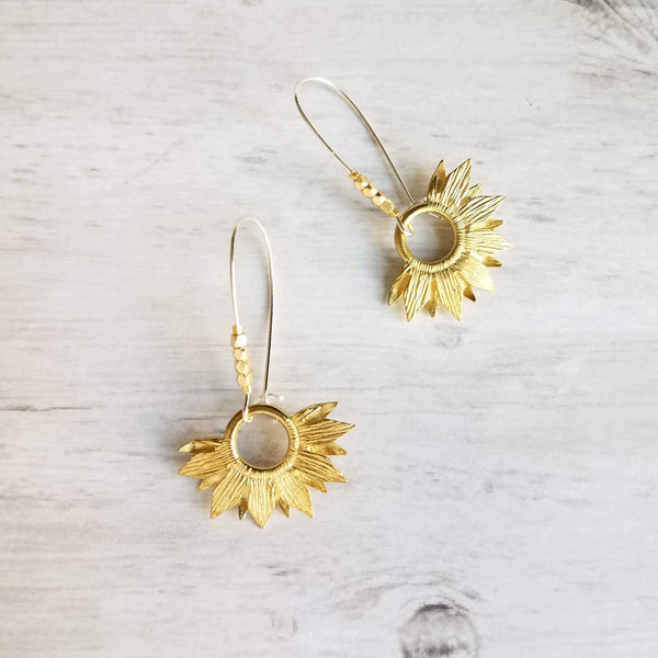 Sunflower Earrings - gold brass cheery reversible flowers on silver kidney latching hooks w/ tiny facet cut beads