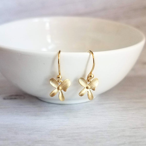 Tropical Flower Earrings - tiny 4-petal floral charms - upgrade little hooks to 14K SOLID gold or 14K gold fill - bridal / bridesmaid jewelry gift - Constant Baubling