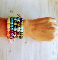 Large Bead Rainbow Bracelet - VSCO girl big pony roller sun friendship knot tie on cord - trend - Constant Baubling