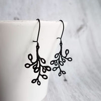 Black Tree Branch Earrings - lightweight outline design on latching kidney ear hooks - handmade autumn fall jewelry - Constant Baubling