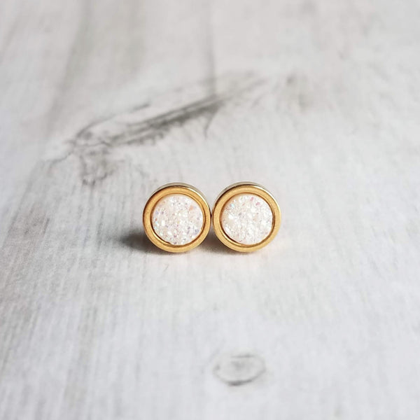 Gold Opal Studs - faux drusy stone in opalescent white - round jagged bumpy rock - hypoallergenic stainless surgical steel posts - tiny little drusy earrings - Constant Baubling