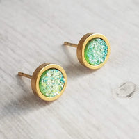 Gold Peridot Stud Earrings - faux druzy stone w/ light green to aqua blue - round rough jagged bumpy rock - hypoallergenic 14K gold plated stainless steel posts - tiny little drusy - Constant Baubling