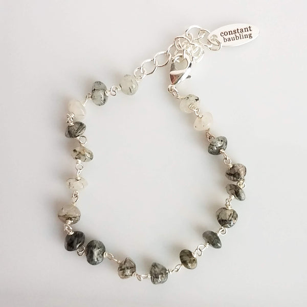 Black Rutile Quartz Stone Bracelet - delicate gemstones w/ silver adjustable chain, white clear grey beads w/ black inclusions and lines