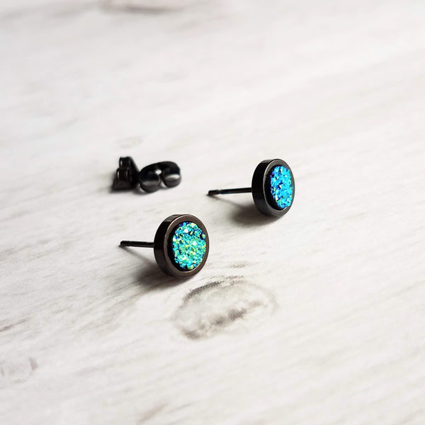 Black / Blue Stud Earrings - faux drusy stone in peacock teal (blue green) - round rough bumpy rock - hypoallergenic stainless surgical steel posts - tiny little mini druzy - Constant Baubling