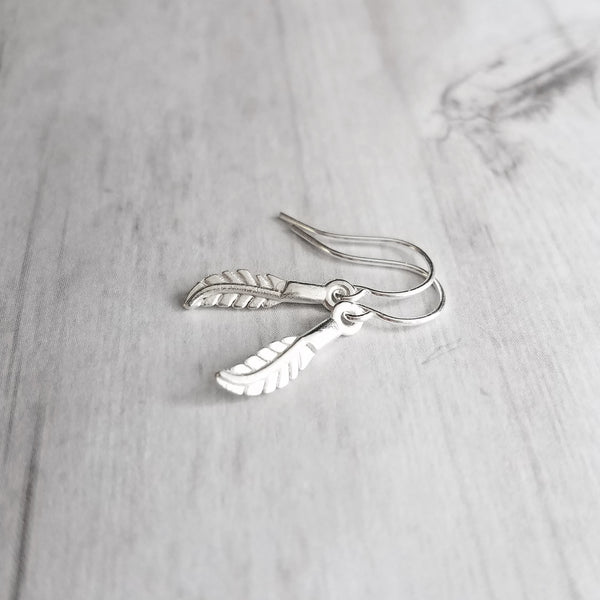 Little Feather Earrings - .925 sterling silver small hooks with tiny silver 3D detailed plume charms - simple everyday lightweight jewelry
