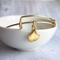 Gold Ginkgo Bangle - adjustable thin wire bracelet - little tiny 18K plate gingko charm - simple minimalist stacking piece - Constant Baubling
