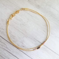 Double Strand Seed Bead Bracelet - pink / cream / gold / bronze brown tiny beads on delicate gold snake chain - Constant Baubling