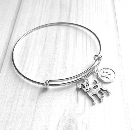 Jack Russell Bracelet - silver bangle adjustable double loop - terrier charm jewelry letter monogram custom personalized fur baby puppy - dog mom / breeder / pet sitter / groomer gift