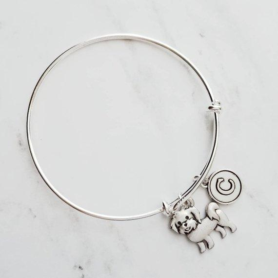Maltese Bracelet - silver adjustable charm bangle double loop pet dog - personalized letter initial monogram - toy breed puppy accessory - breeder / groomer / vet / pet sitter gift - FREE SHIPPING