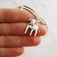 English Mastiff Bracelet - silver bangle adjustable double loop pet dog charm - personalized letter initial monogram - puppy accessory - breeder / groomer / pet sitter / vet gift - Constant Baubling