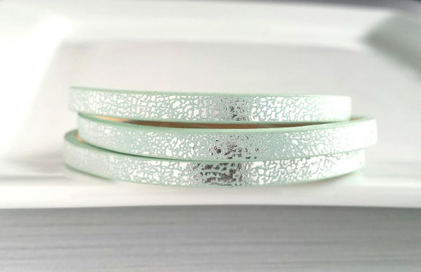 Mint Wrap Bracelet - vegan leather strap w/ magnetic clasp - mottled silver metallic hue on mint green imitation faux leather - triple wrap