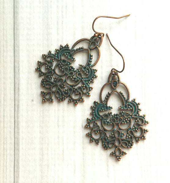 Large Moroccan Earrings - green verdigris patina copper finish - delicate intricate filigree Boho teardrop shape - Bali turquoise