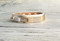 Leather Pave Cuff Bracelet - adjustable genuine white leather strap band with rhinestone center and gold metal accents