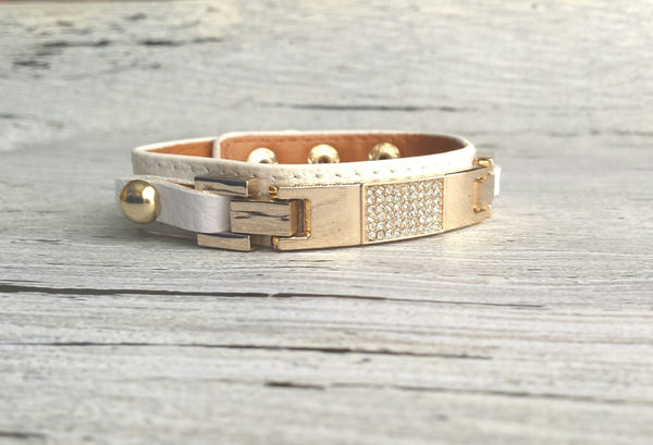 Leather Pave Cuff Bracelet - adjustable genuine white leather strap band with rhinestone center and gold metal accents - Constant Baubling