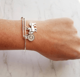 English Mastiff Bracelet - silver bangle adjustable double loop pet dog charm - personalized letter initial monogram - puppy accessory FREE SHIPPING - breeder / groomer / pet sitter / vet gift