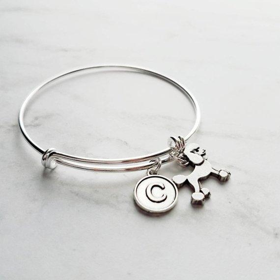 Poodle Bracelet - silver adjustable bangle double loop pet dog charm - personalized letter initial monogram - standard miniature toy breed gift - FREE SHIPPING