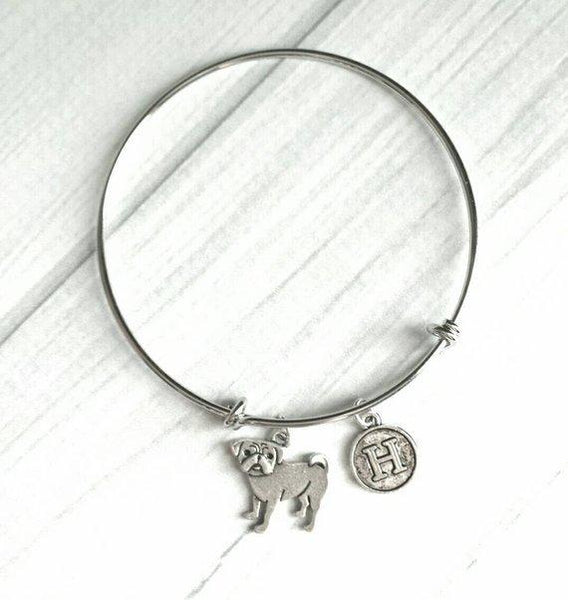 Pug Bracelet - silver bangle adjustable double loop pet dog charm - personalized letter initial monogram - fawn black flat squish face baby