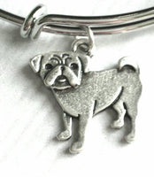 Pug Bracelet - silver bangle adjustable double loop pet dog charm - personalized letter initial monogram - fawn black flat squish face baby - Constant Baubling