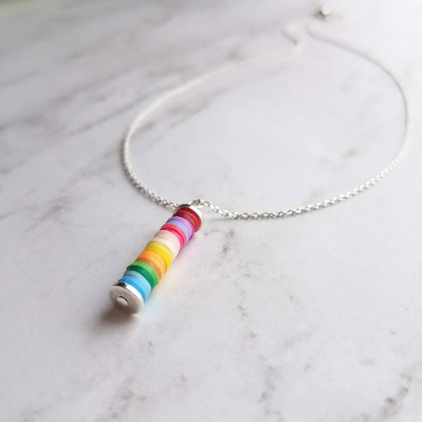 Rainbow Necklace - colorful ombre pendant / dainty silver chain - small stack of round clay heishi disks - LGBT+ support pride jewelry