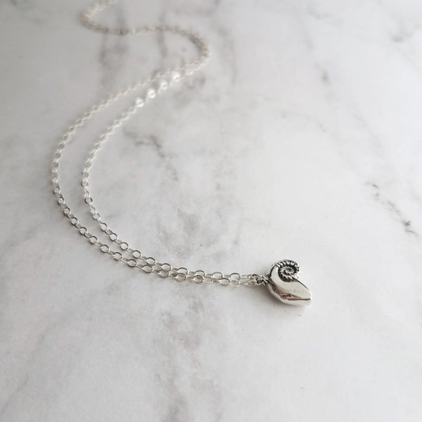 Sterling Silver Shell Necklace - tiny little spiral nautilus snail seashell - 3D detail on a small delicate link .925 sterling silver chain