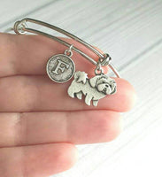 Shih Tzu Bracelet - bangle adjustable double loop pet dog charm - personalized letter initial monogram - shihtzu shihtsu shitzu shit tzu tsu - dog mom / breeder / pet sitter / vet veterinarian / groomer gift