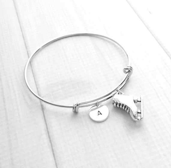 Figure Skating Bracelet - silver adjustable double loop ice skate charm - personalized hand stamped letter / initial / monogram- custom sport skater gift FREE SHIPPING