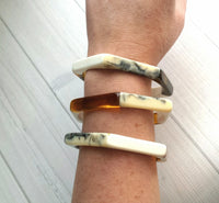 Stacking Bangle Bracelet - tortoise brown amber / solid white / black marbled cream ecru / hexagonal geometric resin jewelry