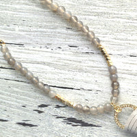 Grey Tassel Necklace - extra long gray smoky quartz beads with gold chain and faux suede leather fringe pendant - boho chic trendy style - Constant Baubling