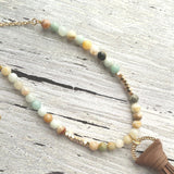 Beaded Tassel Necklace - Amazonite stone beads and gold plated chain with a chocolate brown faux leather fringe tassel pendant - bohemian long over the head style - pale blue / mint / white / grey / tan / orange