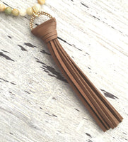 Beaded Tassel Necklace - Amazonite stone beads and gold plated chain with a chocolate brown faux leather fringe tassel pendant - bohemian long over the head style - pale blue / mint / white / grey / tan / orange - Constant Baubling