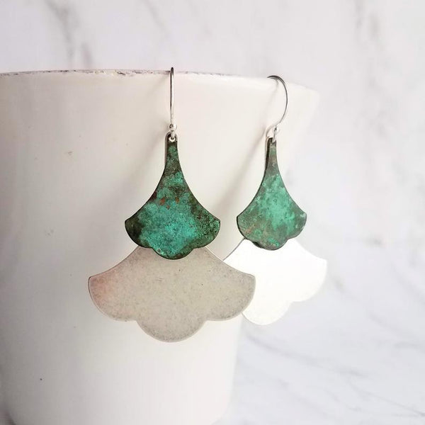 Patina Leaf Earrings - 925 sterling silver hooks with Asian style large brushed silver metal and blue green brass verdigris ginkgo leaves